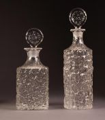 TWO 1960?s/70?s WHITEFRIARS ?GLACIER? OR ?EVEREST? TEXTURED GLASS DECANTERS AND STOPPERS, one of