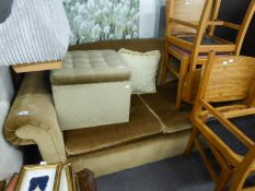 1992 BED SETTEE COVERED IN MUSHROOM COLOURED DRAYLON AND A BUTTON UPHOLSTERED SQUARE BOX STOOL