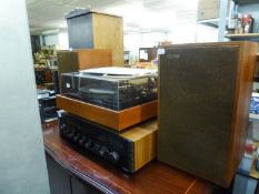 ROTEL STEREO RECEIVER RX 152 AND A PAIR OF LOUDSPEAKERS BY VIDEOTON AND A DONALD BDS90 TURNTABLE