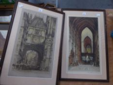 TWO SIGNED ETCHINGS, FRAMED AND GLAZED