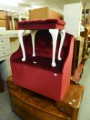 AN OTTOMAN BOX/SEAT, BUTTON UPHOLSTERED IN CRIMSON VELVET AND A DRESSING TABLE STOOL  (2)