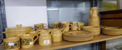 KILN CRAFT DISHWASHER SAFE LIGHT BROWN POTTERY DINNER, TEA AND COFFEE SERVICE FOR SIX PERSONS,