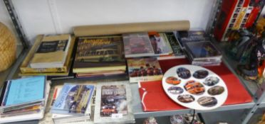 A SELECTION OF BOOKS, POSTERS, DVD's MAINLY RELATING TO BUSSES AND TRAINS