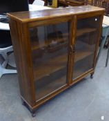 A TWO DOOR BOOKCASE/DISPLAY CABINET