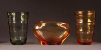 THREE PIECES OF WHITEFRIARS LOBED GLASS FROM THE 1940?s/50?s, comprising: GOLDEN AMBER BOWL, 5 ½? (