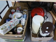 A BOX MIXED CERAMICS, LAMPS ETC. AND SMALL ITEMS OF ELECTRICAL GOODS, VIZ HOME HUB