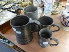 TWO ANTIQUE PEWTER QUART TANKARDS, AN ANTIQUE PEWTER PINT TANKARD AND A PEWTER HALF PINT TANKARD (4)
