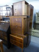 AN OAK SMALL CUPBOARD WITH TWO DOORS AND DRAWERS ABOVE, 2?3? WIDE AND END UMBRELLA STAND AND A