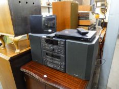 SONY STACKING STEREO SYSTEM, A PAIR OF LOUD SPEAKERS AND A LENCO PORTABLE RADIO AND A SONY DVD