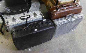 FOUR SUITCASES, VIZ BLACK SAMSONITE, SUDHAUS (AS NEW) AND TWO OTHERS (4)