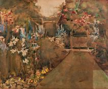 UNATTRIBUTED (TWENTIETH CENTURY) WATERCOLOUR DRAWING Back garden with flowerbedsUnsigned 11 ½? x 14?