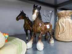 """BESWICK POTTERY MODEL OF A BROWNSHIREHORSE 8 1/4"""" HIGH AND ANOTHER 'RACE HORSE' (A.F.) (2)"""