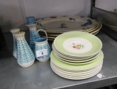 SUSIE COOPER - SIX SIDE PLATES, 6 SAUCERS WITH GREEN AND GILT BANDED BORDERS, BOURNE DENBY CONDIMENT