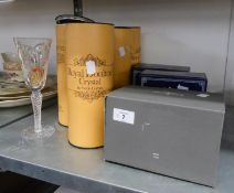 A SET OF 6 ROYAL DOULTON COMMEMORATIVE DRINKING GLASSES, ALL BOXED, AND THREE OTHER ITEMS OF BOXED