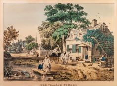 NATHANIEL T. CURRIER (1813-1888) AFTER F. PALMER HAND COLOURED LITHOGRAPH 'The Village Street'