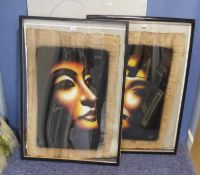 ADEL F, TWO LARGE MODERN EGYPTIAN PAINTINGS ON PAPYRUS, PORTRAITS OF MALE AND FEMALE FROM ANCIENT