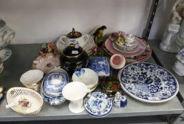 MIXED LOT OF CERAMICS, to include: MASON?S IRONSTONE PLATE, MINTON ?PINK COCKATRICE? PLATE, TWO ?