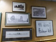 GELDART SIGNED PRINT AND FOUR FRAMED TOPOGRAPHIC PRINTS (5)