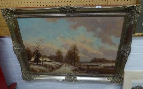CONTINENTAL SCHOOL (MODERN) OIL PAINTING ON CANVAS DUTCH PASTICHE STYLE WINTER LANDSCAPE,