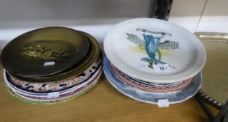 ?SARAH SIDDONS? POTTERY RACK PLATE, together with TEN OTHER VARIOUS RACK PLATES, including a PAIR BY