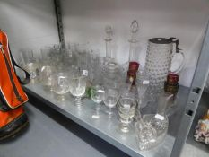 NINETEENTH CENTURY AND LATER GLASS, including TWO GLOBE ABD SHAFT DECANTERS AND STOPPERS, CORDIAL