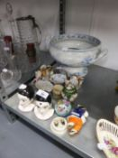 NINETEENTH CENTURY AND LATER CERAMICS, including: BLUE AND WHITE TWO HANDLED PEDESTAL SOUP TUREEN,