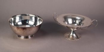 ELECTROPLATE TWO HANDLED PEDESTAL FRUIT BOWL with cyma edge and a Reed & Barton ELECTROPLATE PLAIN