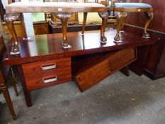 A GOOD QUALITY 'GORDON RUSSELL' MODERN OFFICE DESK WITH COMBINED FILING CABINET (215cm x 90cm)