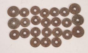 TWENTY FOUR EDWARD VIII HALF PENNY COINS, 1936, British West Africa, white metal