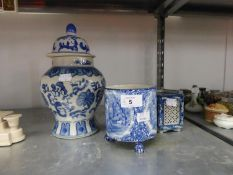 A KENT LTD. OLD FOLEY WARE TRANSFER PRINTED BLUE AND WHITE POTTERY PLANT HOLDERS, A JAPANESE