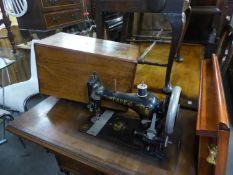VINTAGE PFAFF TREADLE SEWING MACHINE WITH WALNUT COVER