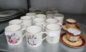 A 24 PIECE POST-WAR ROYAL WORCESTER PORCELAIN COFFEE SERVICE, ALSO TWO EARLY TWENTIETH CENTURY ROYAL