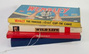 FOUR BOXED BOARD GAMES, viz an Ariel game, Wembley - Spears, Wild Life, Rolaire and Monopoly (4)