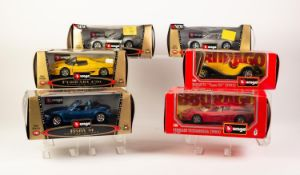 SIX BURAGO MINT AND BOXED 1/24 SCALE DIE CAST MODELS OF VINTAGE SPORTS CARS, including; Ferrari