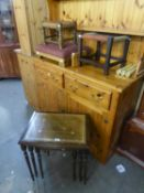 NEST OF 3 TIER TABLES, TWO OAK STRINGWORK STOOLS AND AN ADJUSTABLE GOUT STOOL