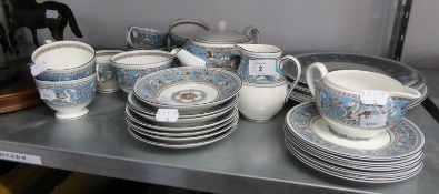 a 28 PIECE WEDGWOOD 'FLORENTINE TURQUOISE' PATTERN TEA SERVICE
