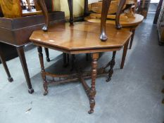 VICTORIAN WALNUT OCTAGONAL CENTRE TABLE, ON FOUR TURNED LEGS JOINED BY GALLERIED SALTIRE