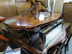 ITALIAN WALNUT AND MARQUETRY SHAPED OVAL COFFEE TABLE, ON TWO COLUMNS, EACH WITH TWO SWEPT SUPPORTS,