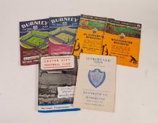SIX MANCHESTER UNITED AWAY PROGRAMMES, v Exeter F.A. Cup 1969, v Sunderland at Leeds Road F.A. Cup