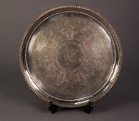 VICTORIAN ELECTROPLATED SALVER, of circular form with engraved centre and claw and ball feet,