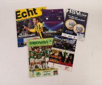 FIVE MANCHESTER CITY AWAY PROGRAMMES in Europe, v Groclin, Hamburg, Poznan, Omonoia and Borussia