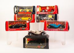 SIX BURAGO MINT AND BOXED 1/24 SCALE DIE CAST MODELS OF VINTAGE CARS, including; Porsche 911 Carrera
