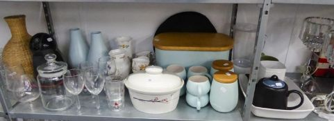 A NESCAFE DOLCE GUSTO COFFEE MAKER, A THAI PALE BLUE CERAMIC BREAD BIN, PAIR OF MATCHING COFFEE