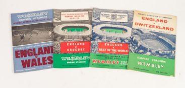 FOUR ENGLAND HOME PROGRAMMES, v Switzerland 1962, v Rest of the World 1963, v Uruguay 1964 and v