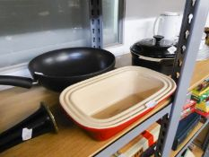 BERNDES ?11? ALLROUNDER? NON STICK ALUMINIUM WOK, together with TWO LE CREUSET POTTERY OVEN PROOF