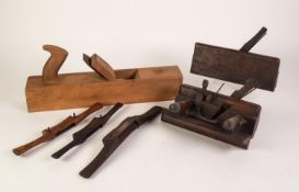 EARLY TWENTIETH CENTURY OAK AND METAL MOUNTED PLOUGH PLANE, complete with two cutting blades, the