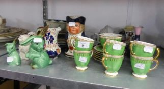 A 14 PIECE COPELAND SPODE GREEN AND GILT BORDERED COFFEE SET AND SUNDRY OTHER CHINAWARES