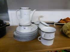 1960?s THOMAS, GERMAN WHITE PORCELAIN COFFEE POT AND MATCHING SUGAR BOWL AND COVER, FOUR SIDE PLATES