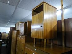 OAK BEDSIDE CUPBOARD AND TWO OTHERS IN SIMILAR STYLE (3)