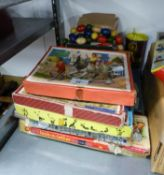 THREE WOODEN JIGSAWS, BOXED, SIX BOXED GAMES, A DIECAST COMMERICAL VEHICLE 'GRATTAN WAREHOUSE LTD'